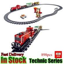 LEPIN 02039 Technic 898 unids Ciudad Rojo Tren De Carga Compatible 3677 Ladrillos De Construcción Bloques RC Modelo de Juguetes Educativos Regalos