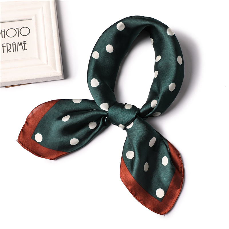 2020 Designer Brand Women Scarf Fashion Dot Print Soft Small Silk Scarves Square Neck Handkerchief Official Shawl Foulard