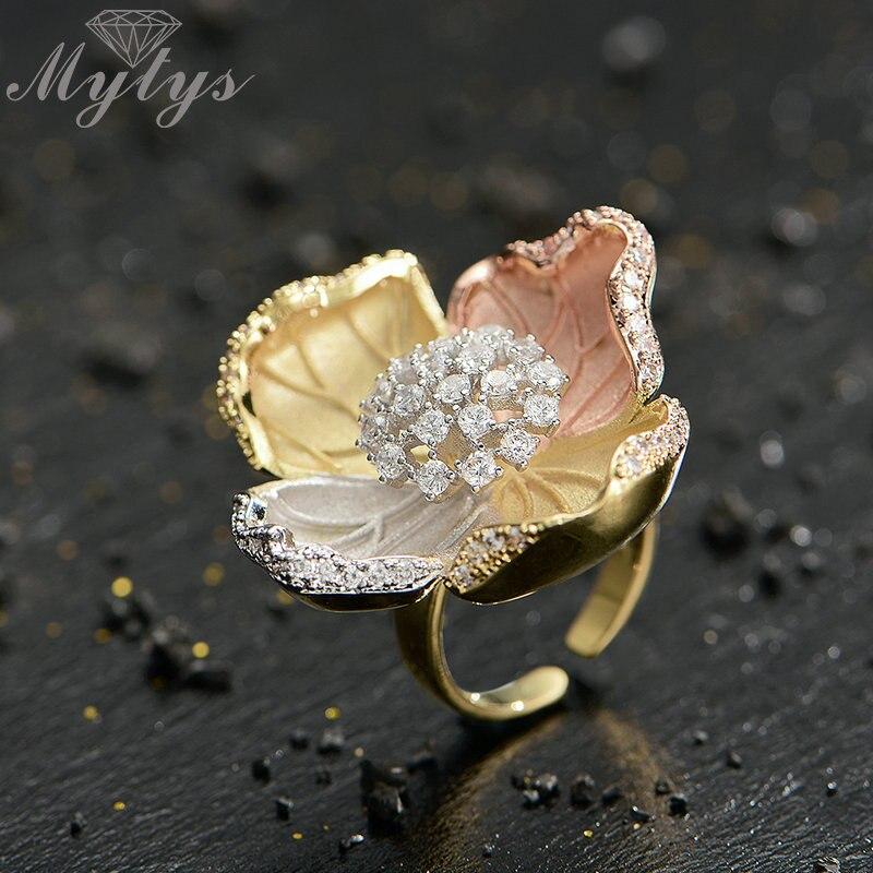 8e895d8ac1a8 Mytys flor anillo flor rosa amarillo plata tres de chorro de arena de alto  nivel abierto anillo de dedo ajustable R2049