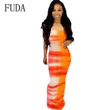 FUDA Women Sexy Sleeveless Tube Top Dress Elegant Vintage Printed Strapless Summer Hollow Out Ladies Party Bodycon Dresses