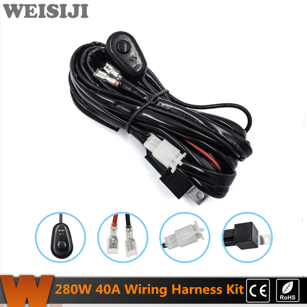 Weisiji 280 Watt Harness Kit Offroad 12 V 40a Led Lichtleiste Volt Wiring Sicherung Relais On Off Wasserdicht Schalter Fr Licht Bar Nebelscheinwerfer Arbeitslicht In