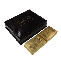Chinese Dragon 24k 999 9 Pure Gold Playing Card Normal Poker Cards With Black Wooden Box