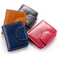 Guaranteed brand genuine leather wallet ladies fashion vintage Mini short purse new women's wallets real leather coin pocket