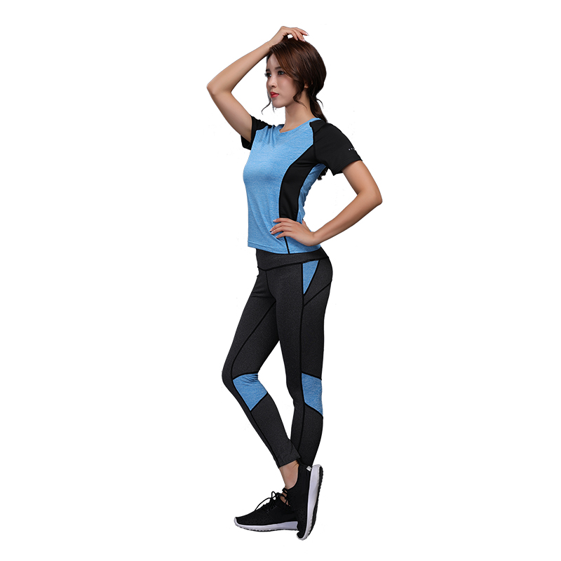Women Yoga Set Gym Fitness Clothes Tennis Shirt+Pants Running Tights Jogging Workout Yoga Leggings Sport Suit Gym Clothing