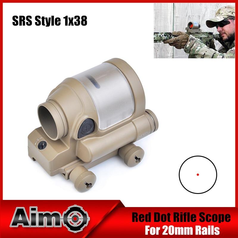 Aim-O Hunting SRS Style 1x38 Red Dot Sight Scope Optics Spotting Riflescopes Airsoft AO3040 aim o red dot tactical hunting sight scope srs reflex 1x38 iron optics riflescope for airgun ao3040