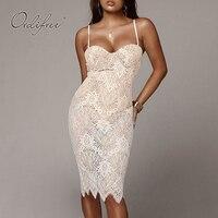 Ordifree 2019 Summer Women White Lace Party Dress Club Wear Pencil Dress Spaghetti Strap Sexy Bodycon Midi Dress