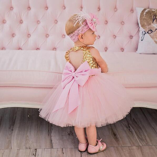 Glitter pink ball gown tutu princess baby 1 year Birthday party dresses bling Golden sequins keyhole back kids flower girl dress pleated panel keyhole back dress