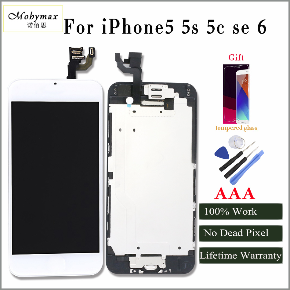 Mobymax AAA quanlity For iPhone5 6 LCD Touch Screen Digitizer Complete Assembly with front camera + sensor flex + home button