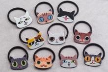 Wholesale 50pcs Fashion Cute Acrylic Cat Dog Head Girls Elastic Hair Bands Solid Kawaii Animal Pony Tail Holder Rubber Headware