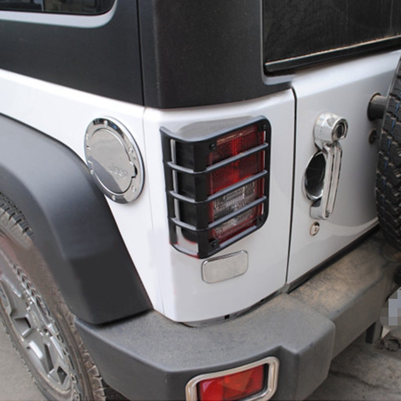 Stainless Steel Rear Euro Tail Light Guard for 2007-2016 Jeep Wrangler JK Sahara for jeep wrangler jk 2007 2016 tail light diamond smoke led tail light