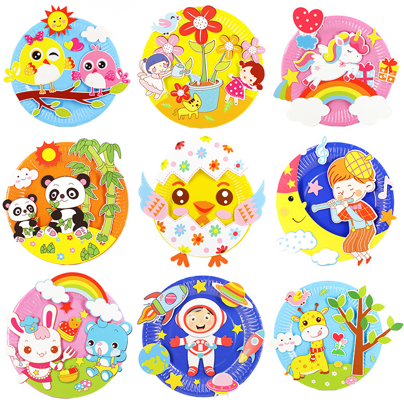 Paper Disc Painting Kindergarten Material Package Plate Sticker Painting Children Puzzle Creative Handmade Kids DIY Paper Plate