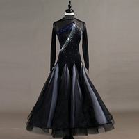 Long sleeve ballroom dance competition dresses woman kids standard ballroom dress waltz dress ballroom dance dresses woman girl