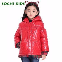 SOGNI KIDS New Winter Girls clothing Cotton padded Outerwear Parka Fashion Hem Cuff Stitching Plaid Shirt