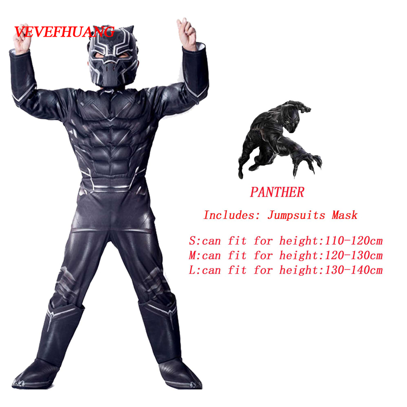 VEVEFHUANG Avengers Hero Black Panther Cosplay Onesies Halloween Carnival Masquerade Birthday Party Costume Gift for children