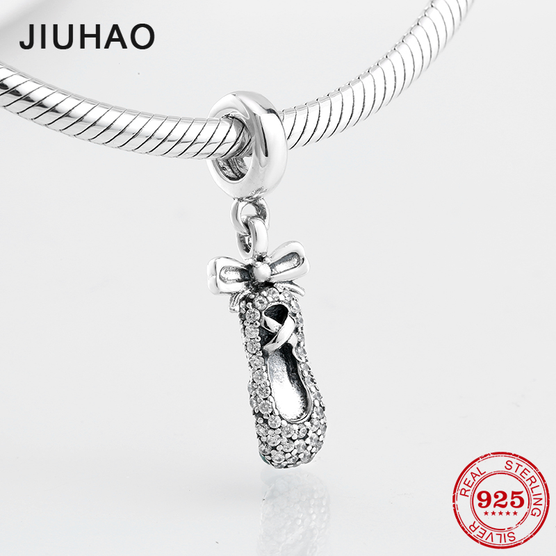 2018 Love dancing BOW Ballet shoes beads charm 925 Sterling Silver CZ pendant Fit Original Pandora DIY Bracelet Jewelry Making strollgirl car keys 100% sterling silver charm beads fit pandora charms silver 925 original bracelet pendant diy jewelry making