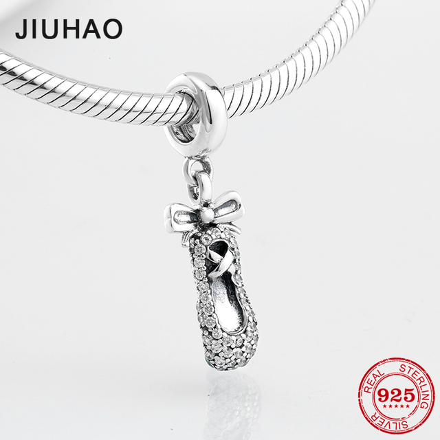 5c24ed3222b43 US $8.15 28% OFF|2018 Love dancing BOW Ballet shoes beads charm 925  Sterling Silver CZ pendant Fit Original Pandora DIY Bracelet Jewelry  Making-in ...