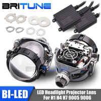 Auto Cars bi-led lentes de proyector H1 9005 9006 H4 H7 lámparas LED para faros de coche-styling Retrofit Hi/Lo Beam lentes Accesorios