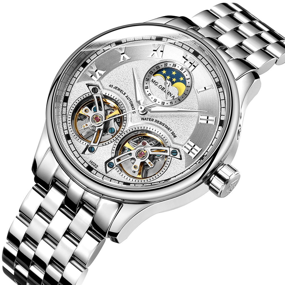 Double Tourbillon Switzerland Watches ORKINA Original Men's Automatic Watch Self-Wind Fashion Men Mechanical Wristwatch Leather