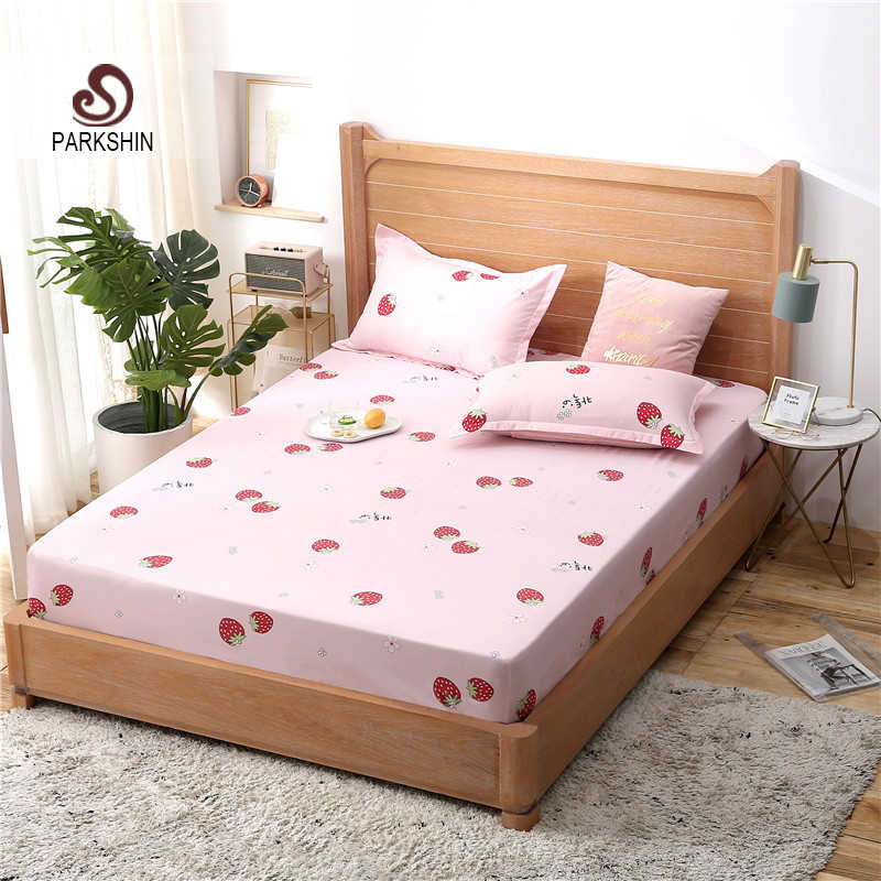 Parkshin 1PCS Strawberry Fitted Sheet Mattress Covers Bed Sheets On Elastic Band With Rubber Sheet Cartoon Double Single Corners
