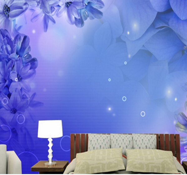 wallpaper art Eco-friendly 3d three-dimensional large murals wall paper sofa tv sofa background wall modern brief blue flowers