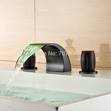 Luxury Deck Mounted Dual Handles Waterfall Bathroom Basin Vessel Sink Faucet with LED Color Changing