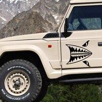 2x البسيطة القرش الأسنان القرش الأبيض العظيم هيئة شخصية الفينيل الشارات ملصقات السيارات التصميم السيارات والاكسسوارات jdm