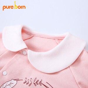 Image 4 - Pureborn yenidoğan bebek Footies ayaklı tulum bebek erkek giysileri pamuk bebek pijama uzun kollu bahar sonbahar kıyafeti