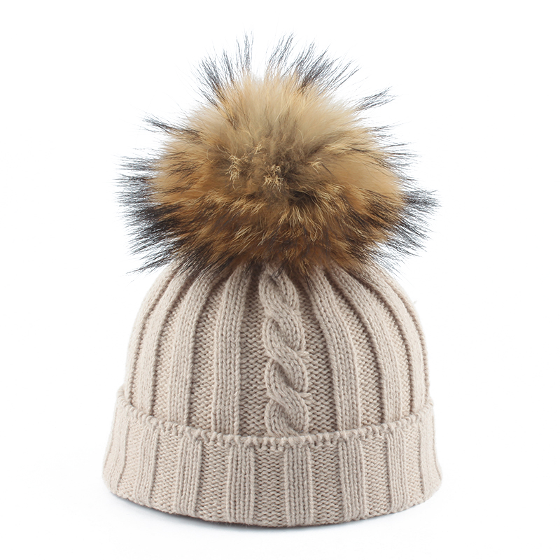 2019 Womens Hat Big Real Fur Pompom Beanie Cap Girls Winter Hats For Women Parent-Child Knitted Hat Cotton Skullies