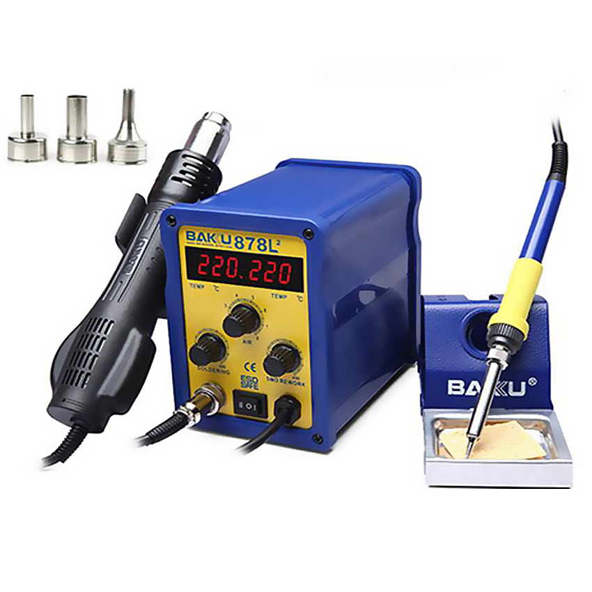 BAKU BK-878L2 led digital Display SMD Brushless Hot Air Rework Station with Soldering Iron and Heat Gun for Cell Phone Repair bst 863 lead free thermostatic heat gun hot air rework station 1200w intelligent digital display rework station for phone repair
