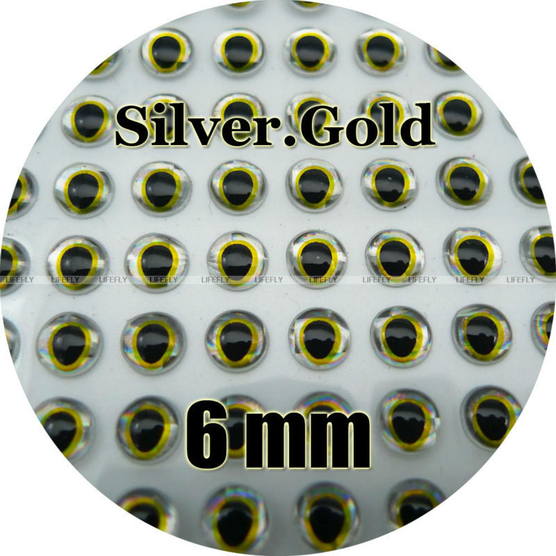 Fly Lure 6mm Green.Gold Wholesale 700 Soft Molded 3D Holographic Fish Eyes