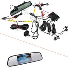 Anshilong 3in1 автомобиля видео Реверсивный Сенсоры парковочные комплект + вид сзади HD Камера + 4.3 дюймов Зеркало автомобиля Мониторы