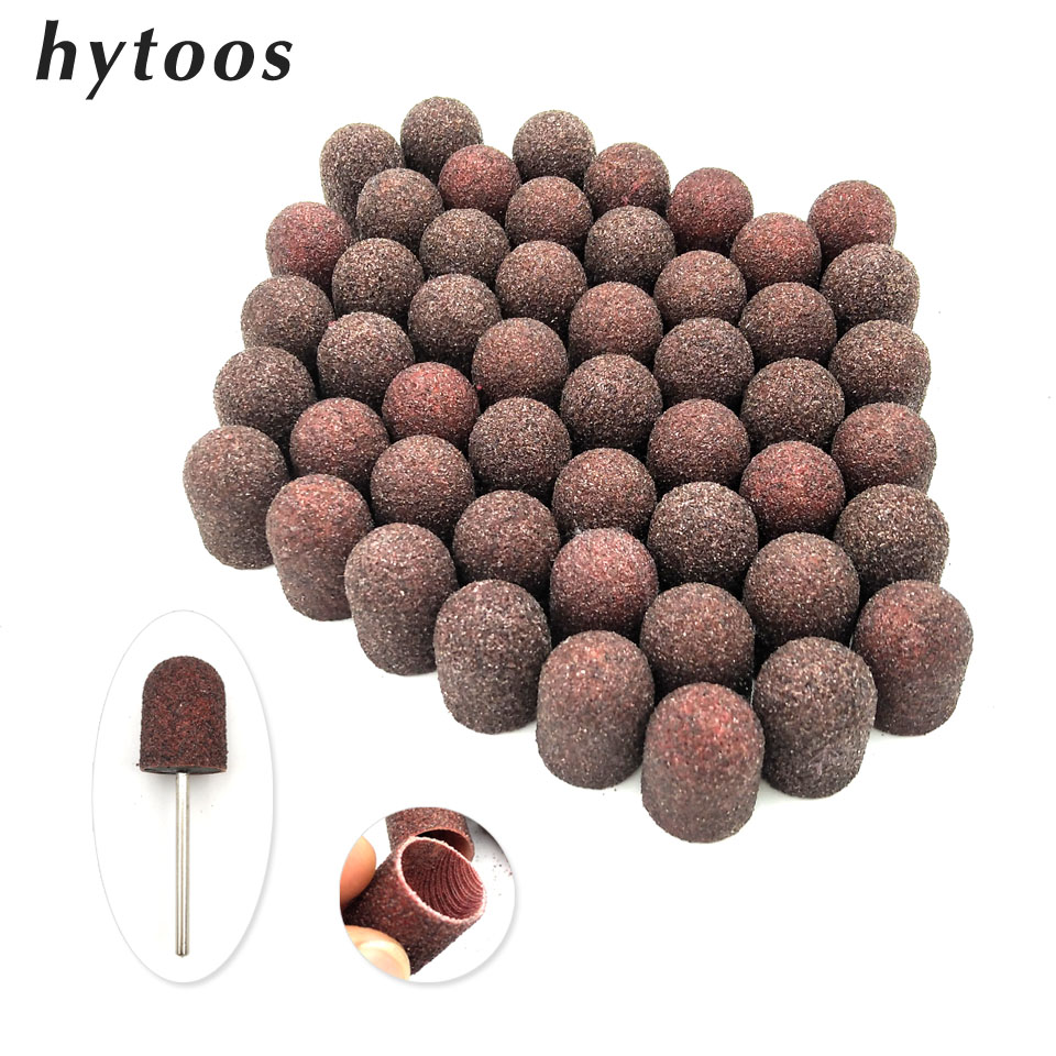 50Pcs 13*19mm Brown Textile Sanding Caps With Grip Pedicure Care Tool Foot Cuticle Polishing Sand Block Nail Drill Accessories