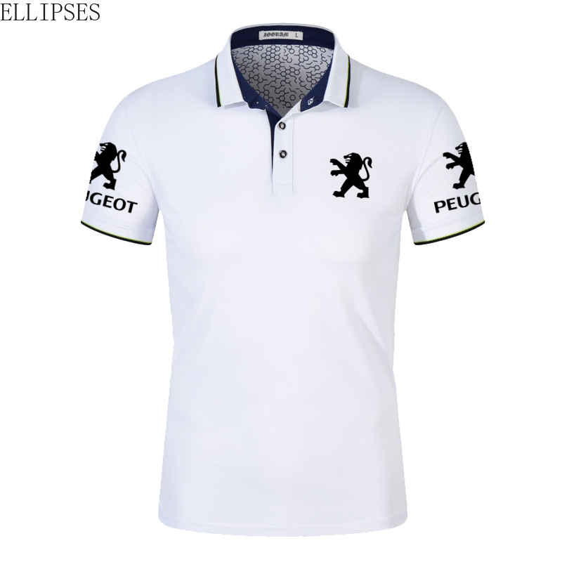 Peugeot Car   Polo   Shirt for Man Summer Peugeot Logo   Polo   Shirt Short Sleeve for Male Cotton Turn-down Collar Tops   Polo   Shirt Men
