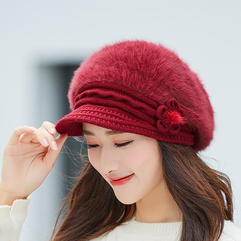 smiple Adjustable Winter Women Rrabbit fur ball cap winter hat girl knitted hats   skullies     beanies   brand new thick female cap