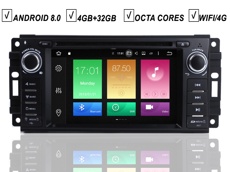 Car DVD GPS Player Android 8.0 For JEEP Wrangler Compass Patriot <font><b>Grand</b></font> <font><b>Cherokee</b></font> Octa 8 Core 4G RAM 32G ROM Radio BT DAB+Wifi MAP image