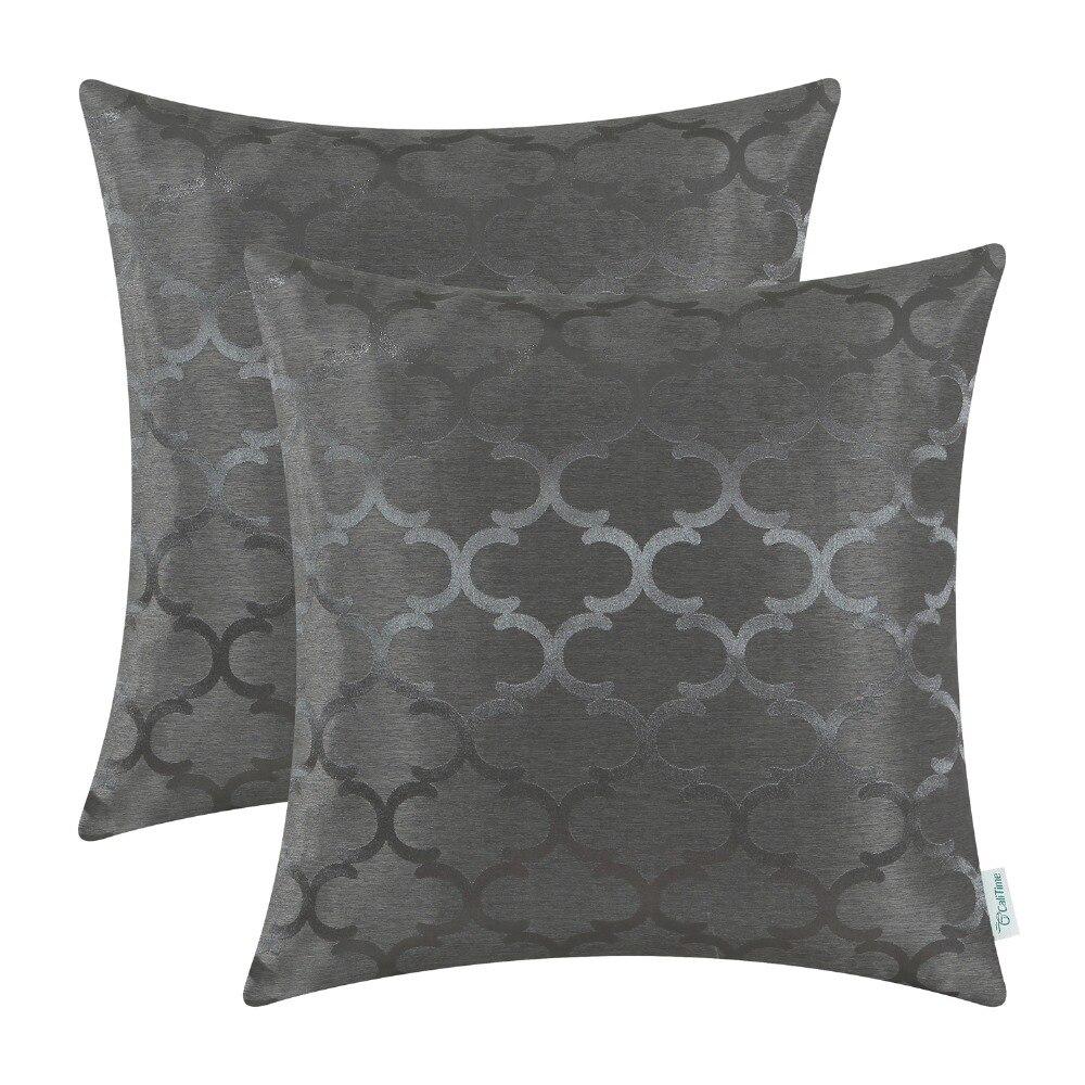 2PCS CaliTime Cushion Covers Pillows Shell Quatrefoil Accent Geometric 18 X 18(45cm X 45cm) Grey