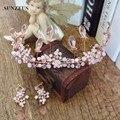 Bruids Haaraccessoires Rosa Coroa De Casamento New Handmade SQ086 Handband Noivas Tiara Parágrafos