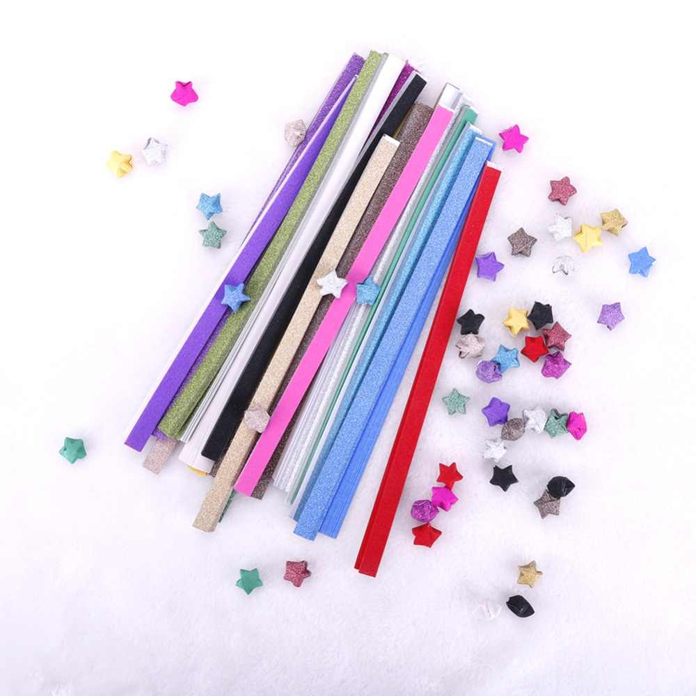 20Pcs Origami Lucky Star Paper Stars Paper Stripe Glitter DIY Handmade Folding Decorative Randomd Color Paper #259129