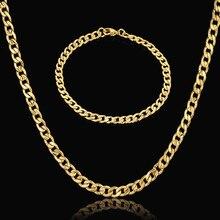 Collar del Collar Fijó Para Las Mujeres/de Los Hombres Vintage Chapado En Oro de Acero Inoxidable Collar de Cadena Cubana Pulsera Dubai Sistemas de La Joyería