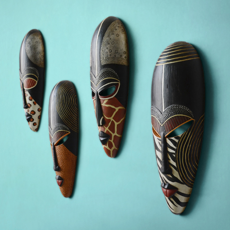 Hot Retro Resin Exotic African Masks Portraits Hanging Wall 1