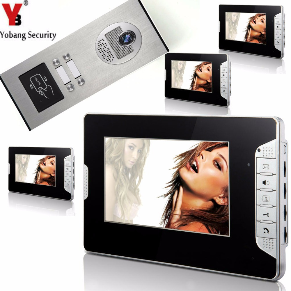 Yobang Security 7 Inch Video Door Phone Doorbell Video Entry System Intercom Kit 1-camera 4-monitor Night Vision For 4 Apartment yobang security 7 inch video door phone visual doorbell doorphone intercom kit with metal villa outdoor unit door camera monitor