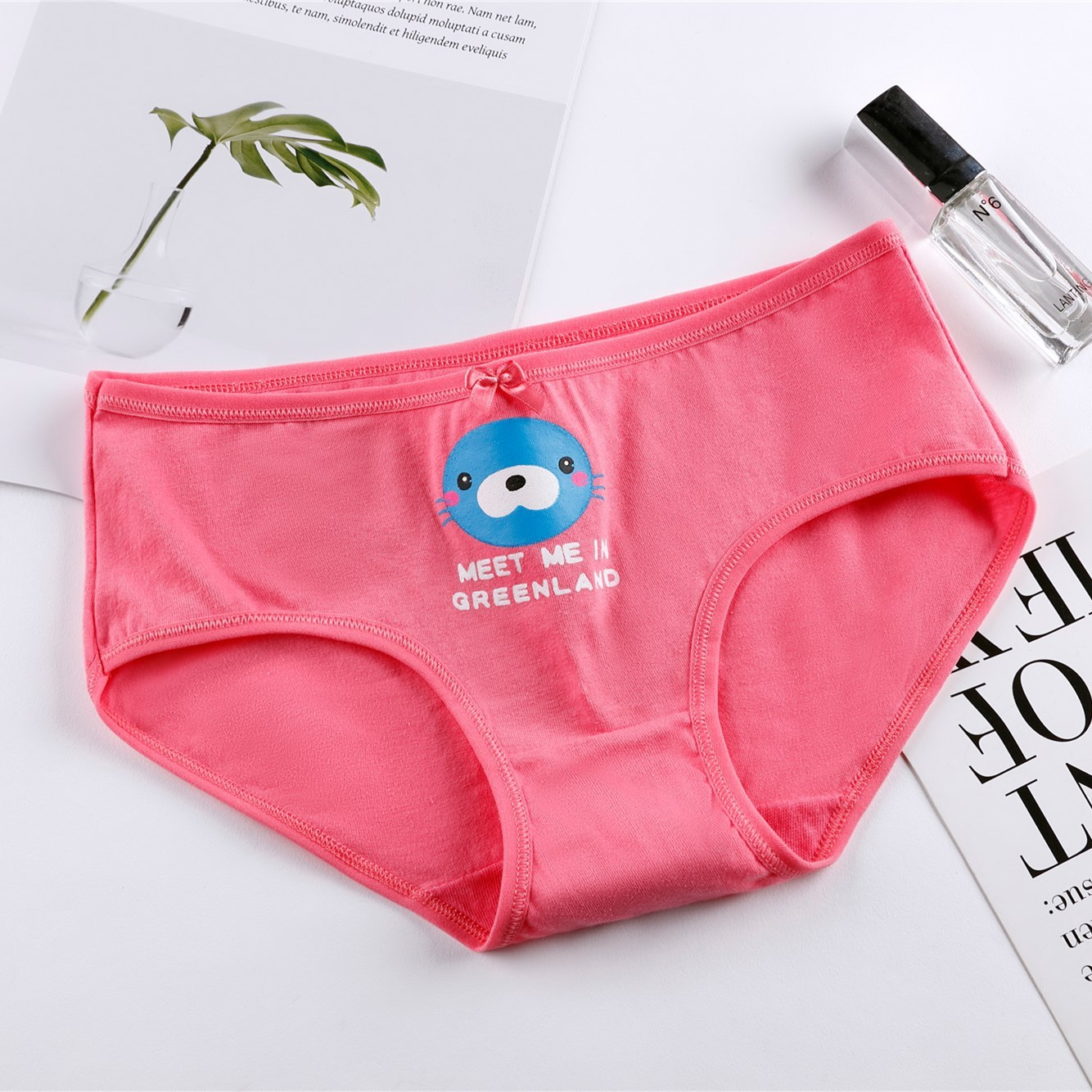 Women's panties cotton gril briefs print underwear sexy lingerie stripe underwear plus size underpants female panty pink panties