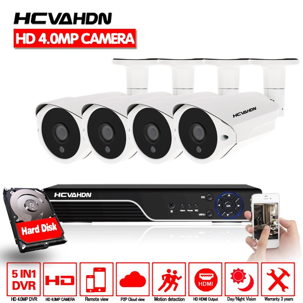 HCVAHDN SONY 4MP CCTV Surveillance Kit 5mp Caméra de Sécurité Système 4ch DVR NVR 5MP Vidéo Sortie 40 m nuit vision caméra P2P VUE