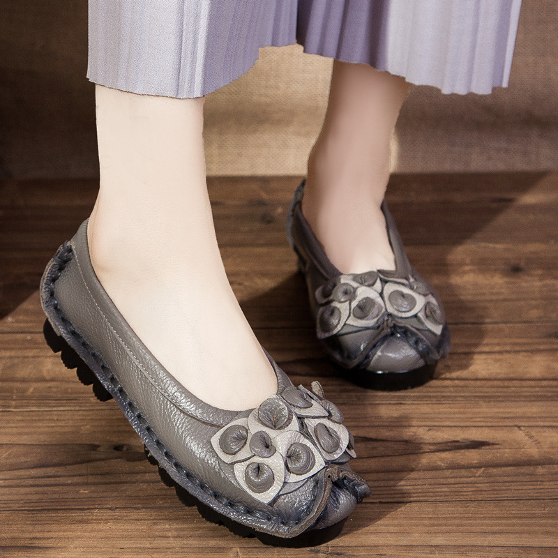 New Autumn Flowers Handmade Shoes Women s Floral Soft Comfortable Flat Shoes Casual Loafers Ethnic Women