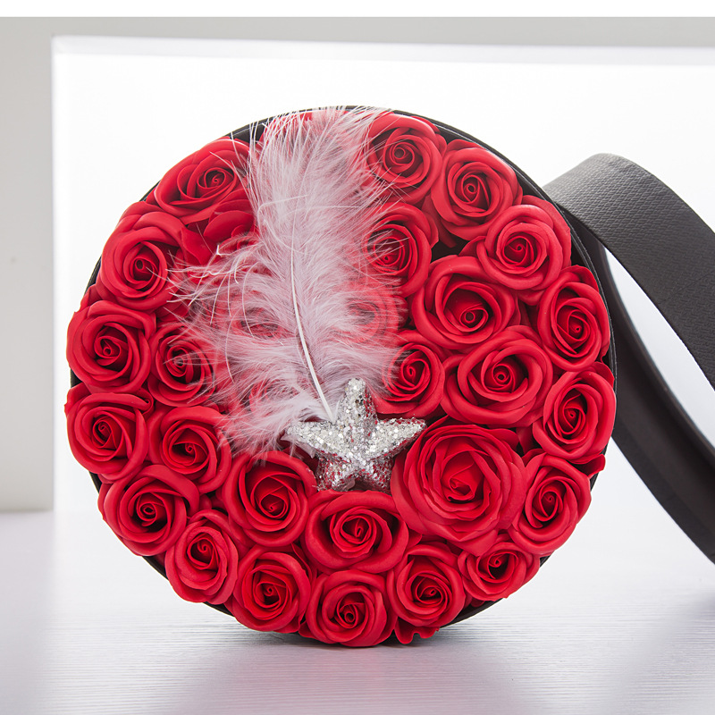 Feather soap flower box valentine's day immortal roses emulation flower Free Shipping