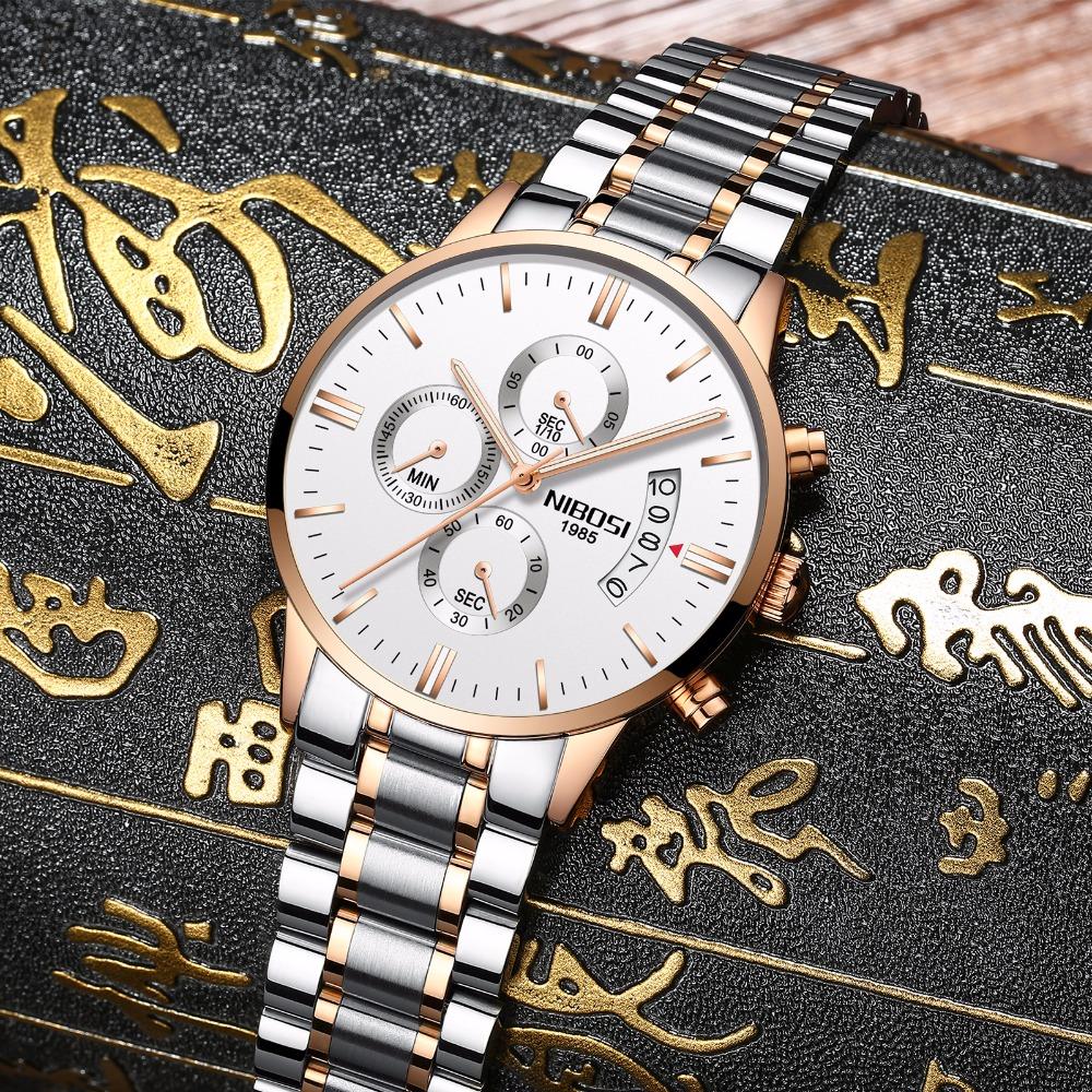Relojes de hombre NIBOSI Relogio Masculino, relojes de pulsera de cuarzo de estilo informal de marca famosa de lujo para hombre, relojes de pulsera Saat 19