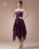 Sexy New Jewel Neck Beaded Purple Chiffon Strapless Homecoming Dresses 2015 Grade Graduation Dresses Short Party