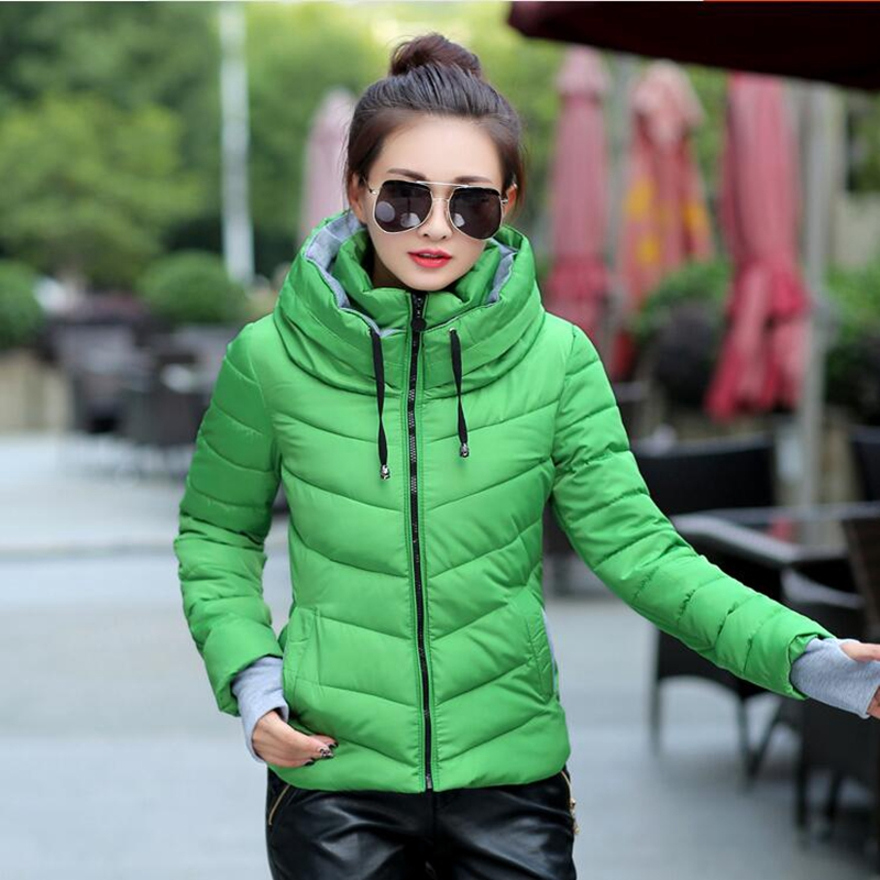 ФОТО 2017New  Winter Jacket women Parkas Thicken Outerwear solid hooded Coats Short Female Slim Cotton padded basic tops Plus Size