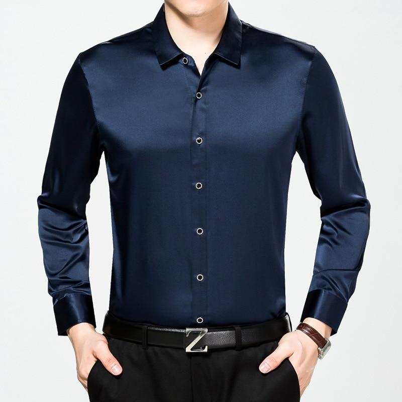 Mannen 100% Zijde Lange Mouwen Shirt Iron Leisure Pure Zijde Shirt-in Kleding Shirt van Mannenkleding op  Groep 2