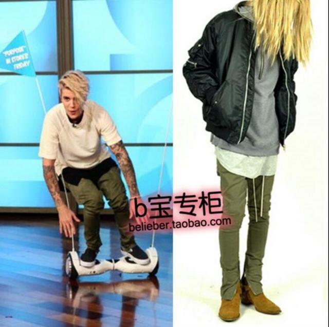 bf91189e7de New 2018 Justin Bieber men s clothing fashion Zipper Lounge harem Pants  army green stage singer costumes